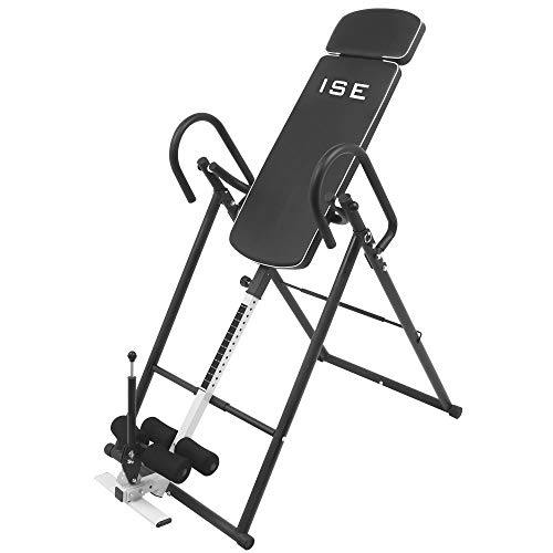 ISE Table d'Inversion Musculation Planche d'inversion Pliable/Gravity Trainer avec Le Système Perfect-Balance - Taille jusqu'à 185 cm,Inversion Max de 180° SY-ES1012