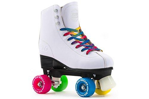 Rio Roller Figure Quad Skates Patin à roulettes de Danse, Blanc - Rose - Bleu - Vert, 38