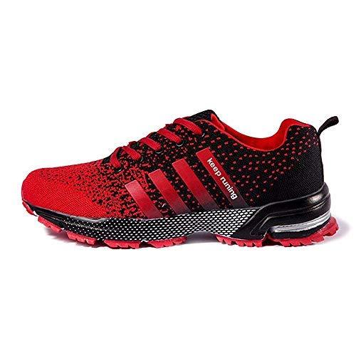 FUSHITON Chaussures de Course Air Coussin Semelle Respirant Confort Sport Athlétique Sneakers Baskets Femmes Hommes, Rouge, 39 EU