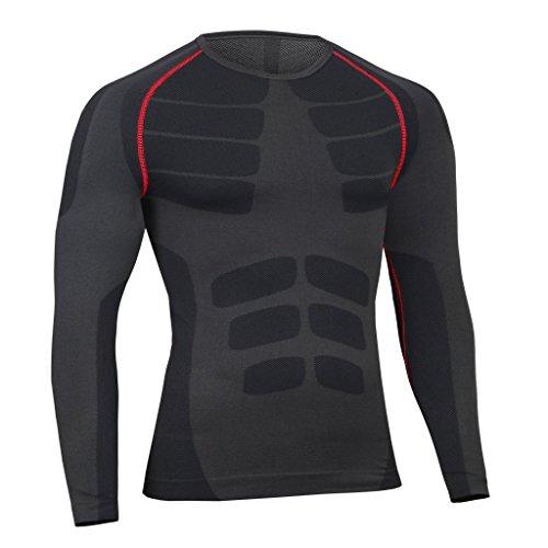 Bwiv Haut de Compression Homme Thermique Manches Longues Séchage Rapide T-Shirt de Course Cyclisme Fitness Entraînement, Noir avec ligne rouge, FR:52-54/Poitrine:100-105cm/Marque:XL