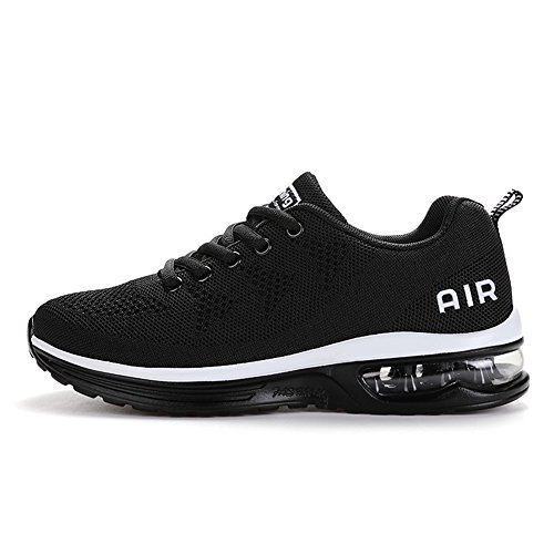 Axcone Homme Femme Air Baskets Chaussures Outdoor Running Gym Fitness Sport Sneakers Style Running Multicolore Respirante- 36EU-46EU, Blanc Noir, 39 EU