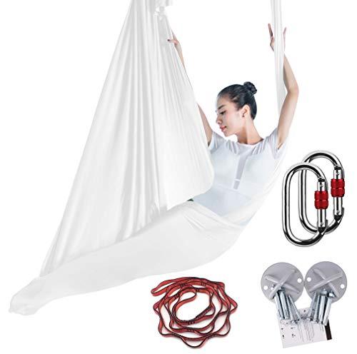 KIKIGOAL Aerial Yoga Une Ensemble Yoga Hamac Pour Pilates Danse Yoga Strap Yoga Anti-gravité Yoga Aerial Silks Aérienne Yoga (Blanc)