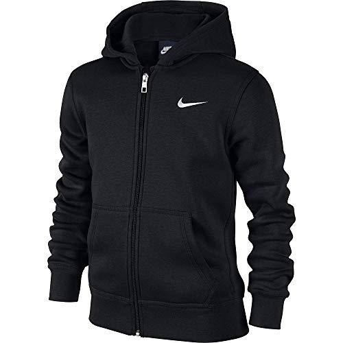 Nike - Young Athletes 76 - Brushed Sweat-shirt à capuche zippé - Mixte Enfant - Noir  (Noir/Blanc) -S (Taille Fabricant: 8-10 Ans/128-137)