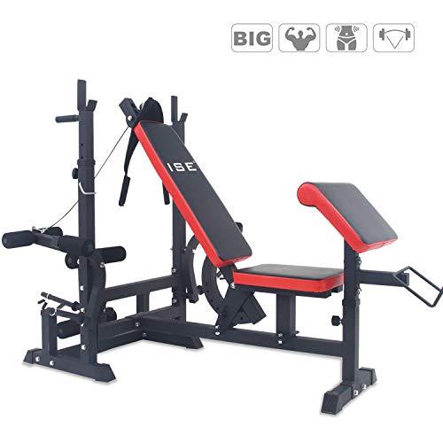 ISE Professionnel Banc de Musculation Multifonction Station d'entraînement Gym 6 Réglage en Hauteur avec Flexion des Jambes l'entraîneur Abdominal Butterfly,Barre de Flexion jusqu'à 150 kg