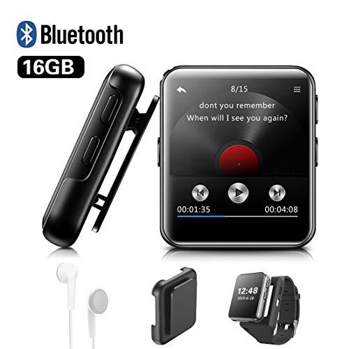 Lecteur MP3 BENJIE 16Go Bluetooth Lecteur MP3 1,5'Sport Écran Tactile Complet HiFi Son sans Perte, Radio FM, enregistreur Vocal, Livre électronique