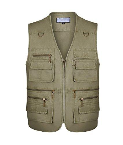 Gilet de plein air,Veste sans manches multi-poches pour hommes,Veste de sport devoyage,Photographie, pêche (Kaki, L)