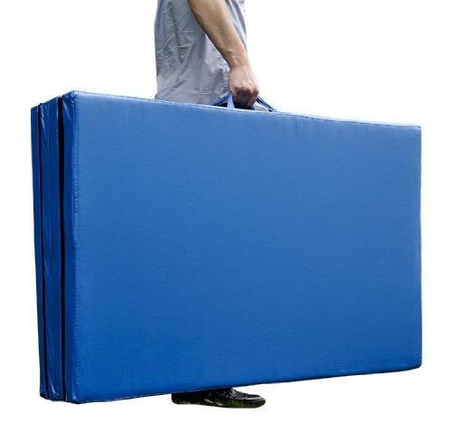 Homcom Tapis de Sol Gymnastique natte de Gym Matelas Fitness Pliable Portable 10 Pieds Bleu