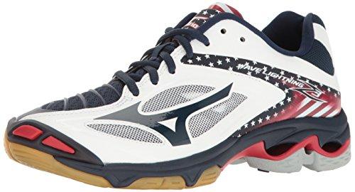 Mizuno Wave Lightning Z3 Chaussures de Volley-Ball pour Femme, Blanc (Étoiles/Rayures), 40 EU