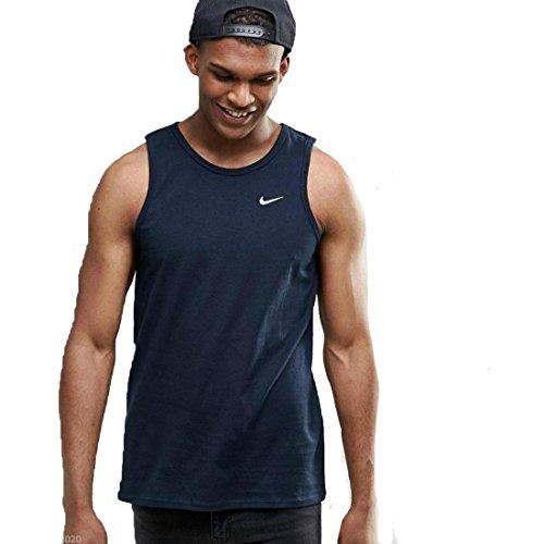 Nike Veste Hommes Coton Fitness Régulier Fit Muscle Chemise Shirt Navy, Dimension:L