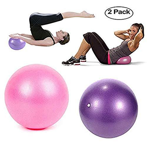 TopBine exercice Pilates Balle - (2 pièces) Boule de stabilité pour le yoga, formation et physiques Therapy- Améliore l'équilibre, mal de dos et Posture- est livré avec gonflable Paille - 23 cm