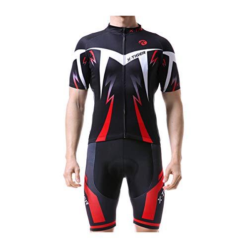 X-TIGER Cyclisme Maillot Manches Courtes+Gel 5D Dous-Vêtements Rembourrés Coolmax Cuissard à Bretelle VTT pour Homme(Rouge,XL)