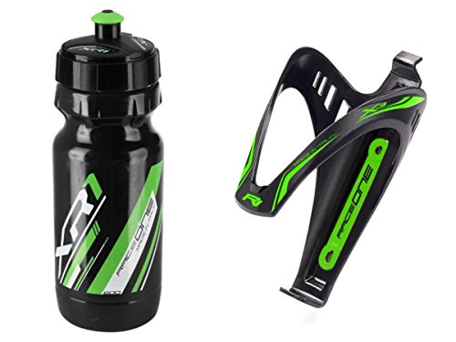 RaceOne.it - KIT Fluo Race - 2 PCS - Bidon avec Porte-bidon de Vélo. Bouteille d'eau avec support pour Cyclisme VTT/ Vélo de Route / MTB / Gravel Bike. Bottle XR1 + Bottle Cage X3 /600 CC. Coleur: Vert Fluo - 100% MADE IN ITALY
