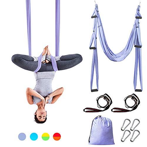 Sotech Hamac de Yoga, Balançoire de Yoga Aérien Kits en pour Le Yoga Anti-gravité, Exercices d'inversion, avec Sac de Transport et 2 Sangles d'extension, Capacité 300 kg (Violet Clair)