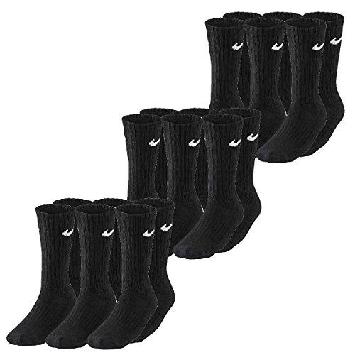 9 Paar Nike Sportsocken Tennis Socken Crew Gr. 34 - 50, Farben:noir;Größe Bekleidung:M