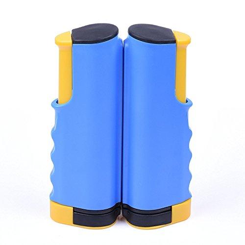 Mmbox Filet de tennis de table rétractable pour table d'extérieur, bleu/jaune