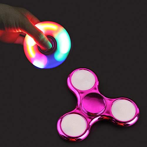 EBLINK Red Pink Hand Spinner Fidget Toy, LED Light Spinner Fidget Jouet Tri Fidget Spinner Finger Adultes Enfants ( Cristal Transparent) (Cristal) (Violet)