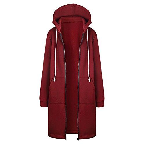 Veste Kimono Gilet Blazer Manteau Hiver Femme Chaud Fermeture éclair Ouvrir Hoodies Sweat-Shirt Longue Hauts Vêtements d'extérieur