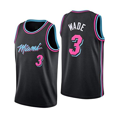 JINHAO Maillot de Basket-Ball pour Hommes NBA Miami Heat # 3 Dwyane Wade Swingman Maillot(Noir5, XL)