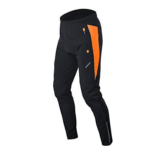 Lixada Hommes Cyclisme Veste Imperméable Thermique Respirant Cyclisme Vêtements Ensembles Long Manches Veste Imperméable + Pantalon de Vélo Pantalon (Orange(Pantalon), XXL)
