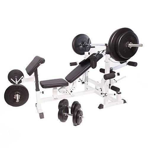 Gorilla Sports Banc de Musculation Universel GS005 + Set haltères disques Plastiques et Barres 97,5kg
