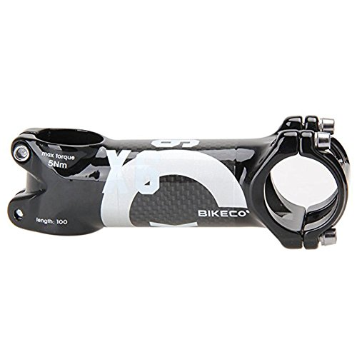 Bikeco Potence de vélo en fibre de carbone 3K brillant ultra léger pour guidon de VTT/vélo de route, 31,8 x 80/90/100/110 mm, Silver