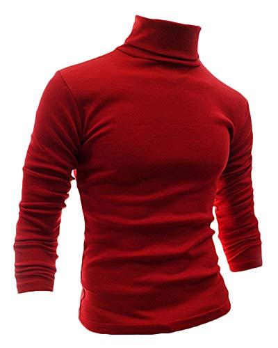 Pull - Col Roulé - Manches Longues Chandails Veste en Maille - Homme Rouge M