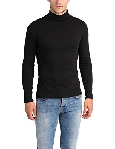 Lower East Chemise à col roulé slim fit pour homme, Noir, M