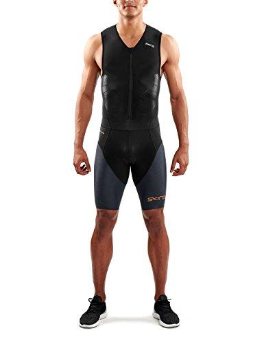 SKINS DNAmic Triathlon Homme Combinaison avec Zip Avant Noir/Carbon Suit, FR : L (Taille Fabricant : L)