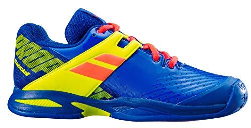 Babolat Enfants Propulse Allcourt Junior Chaussures De Tennis Chaussure Tout Terrain Bleu - Jaune Citron 37