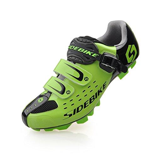 TXJ Unisexe Respirant Chaussures de vélo Professionnels pour VTT (SD-001 Noir/Vert pour Le VTT, EU 43/Ft 27.5cm)