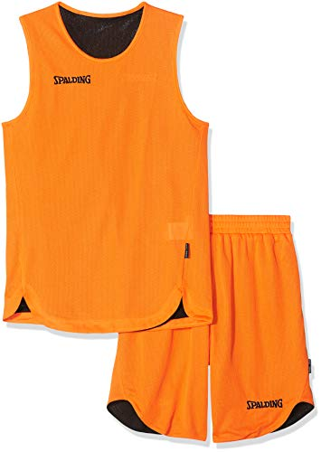 SPALDING - DOUBLE FACE KIT REVERSIBLE JUNIOR - Kit Maillot et Short de Basket Junior - Kit reversible Junior - Confort maximal - orange/noir - 128 cm