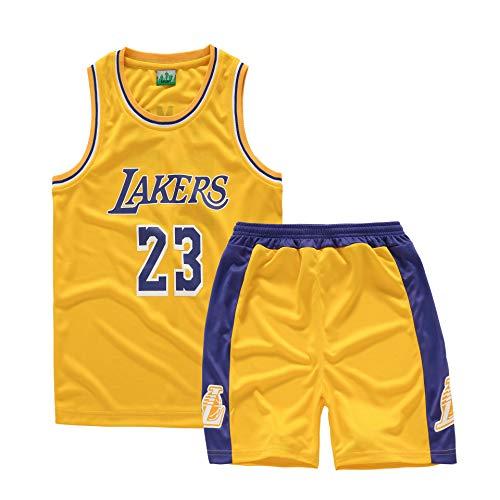 Basket Maillots Uniforme De Basket-Ball pour Les Enfants, Lakers # 23 James 2019 Sportif Basketball Jersey T-Shirt Tops Shorts pour Les Amateurs De Basket (Taille 110-165 cm) (L,C)