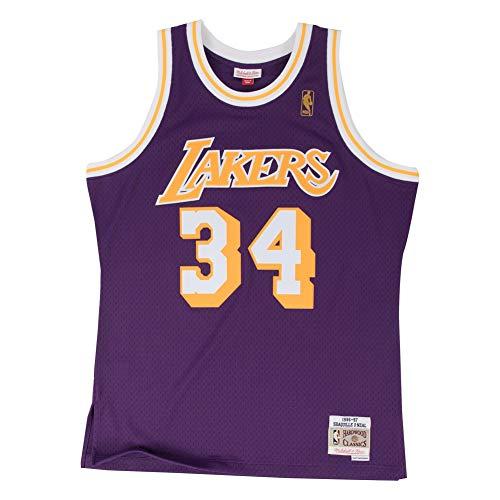 Mitchell & Ness Shaq O'Neal # 34 Los Angeles Lakers 1996-97 Swingman NBA Maillot Violet, Violett, XL