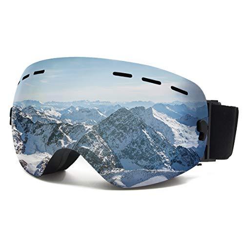 ShellBox Lunettes de Ski Masque Snowboard Ski Hommes Femmes Adultes,OTG Masque de Ski,Anti-Buée,Coupe-Vent,UV 400 Protection, Compatible Les Casques(Argent)