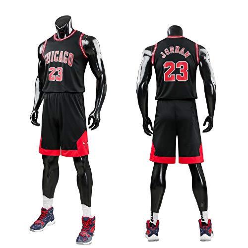 Daoseng Enfant garçon NBA Michael Jordan # 23 Chicago Bulls Short de Basket-Ball Retro Maillots d'été Uniforme de Basket-Ball Top & Shorts (Noir-Adulte, L/Adulte Hauteur 160-165CM)