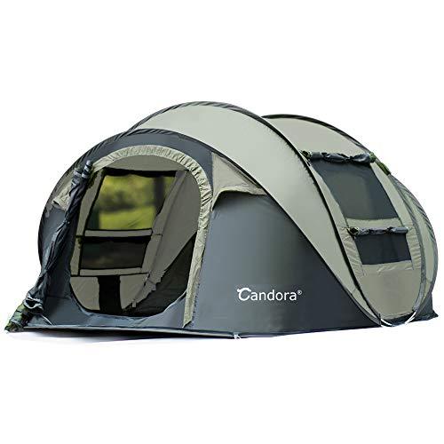 Candora Camping tentes 4-6Personnes dépliable Facile Configuration Rapide, 2Portes fenêtres en Maille étanche Grande Famille de confidentialité Tente de Voyage