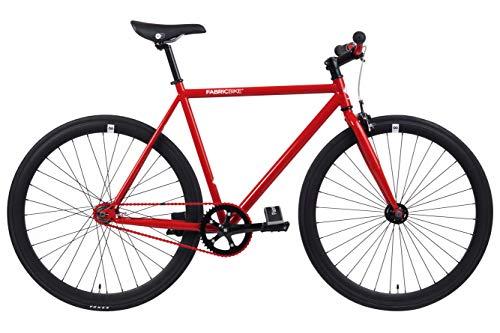 FabricBike- Vélo Fixie Noir, Fixed Gear, Single Speed, Cadre Hi-Ten Acier, 10Kg (M-53, Red & Matte Black)