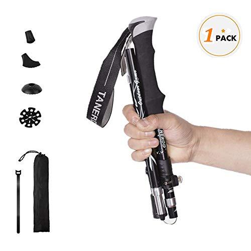 Wsobue Bâtons de Marche Pliable, Bâtons de Randonnée Téléscopique en Aluminium Ultra Léger Bâtons de Ski pour Hommes Femmes (Noir)
