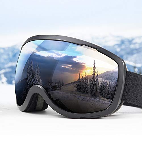 Elegear Lunettes de Ski Masque Snowboard Lunettes à Miroir Anti-Buée Ski Goggles pour Homme, Femme Motoneige Unisexe Lentille d'anti-éblouissement avec UV 400 Protection (Black)