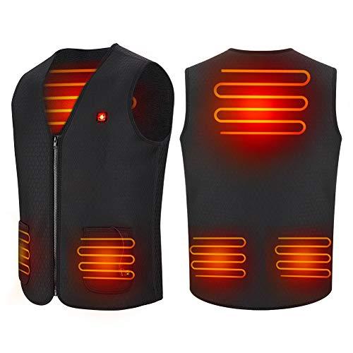Gilet Chauffant Chargement USB Hiver Vêtements Chauds Chauffés Chauffant Lavable pour Activités de Plein Air Chasse Randonnée en Plein Air Ski Pêche Camping Apte à Homme et Femmes (XXL)