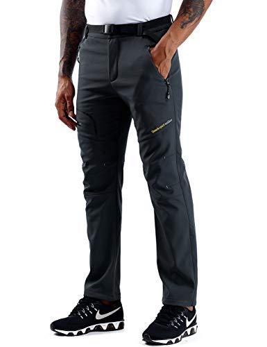 ZOEREA Pantalons de Randonnée Homme Softshell Doublé Polaire Coupe-Vent Outdoor Sport Travail Escalade Camping Trekking Montagne Pantalon