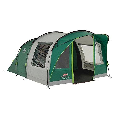 Coleman Tente Rocky Mountain 5 Plus, grande tente de camping avec 2 chambres, toile de tente 5 personnes avec Technologie BlackOut Bedroom, tente familiale 5 places, tente tunnel avec auvent