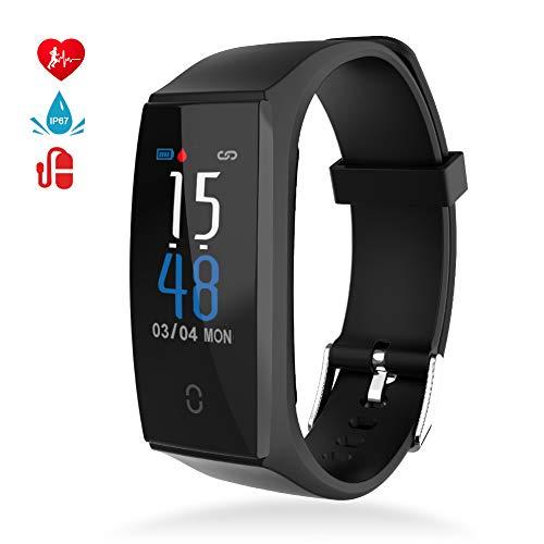 Montre Connectée Cardiofréquencemètre Bracelet Connecté Podomètre GPS Fitness Tracker d'Activité Tension Artérielle Smartwatch Sport Femme Homme Étanche IP67 Montre Cardio pour Android iOS (Noir)