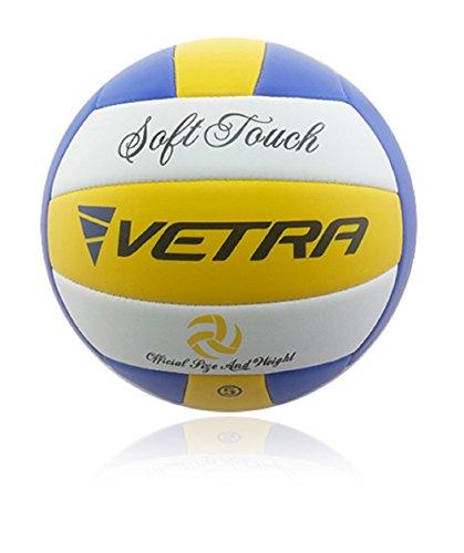 Vetra Volley-ball doux toucher Ballon de volleyball officiel taille 5 Extérieur Intérieur plage salle de sport jeu balle New (Jaune/Bleu/Blanc, officiel)
