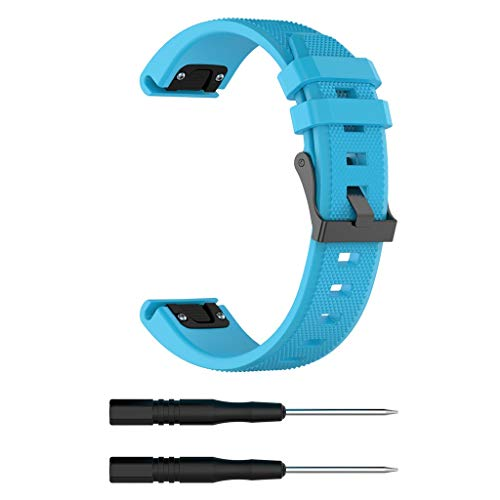pour Garmin Forerunner 945 Watch Bracelet, Dragonne de Soft Sports de Remplacement en Silicone de Band de Montre + 2X Screwdriver pour Garmin Forerunner 945, 120-210mm (Bleu Ciel)