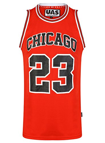 Débardeur UrbanAllStars - Style américain - Pour homme - Maillot de basket de Miami, New York, Chicago, Los Angeles, Brooklyn -  Rouge - Small