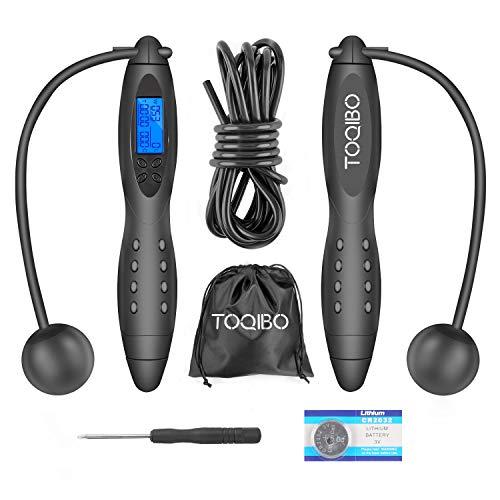 TOQIBO Corde à Sauter sans fil, Digital Corde à sauter réglable, compteur de calories Jump Cordes à sauter, LCD écran montrant, Contient Sac de Rangement, pour adulte, femme, enfant