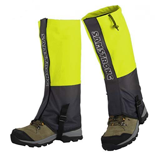 Guêtres - Couvre-Chaussures imperméables pour Bottes de Neige pour Hommes et Femmes Randonnée, Chasse, Escalade, Marche, Cyclisme, Raquette (Adultes Jaune Fluorescent)