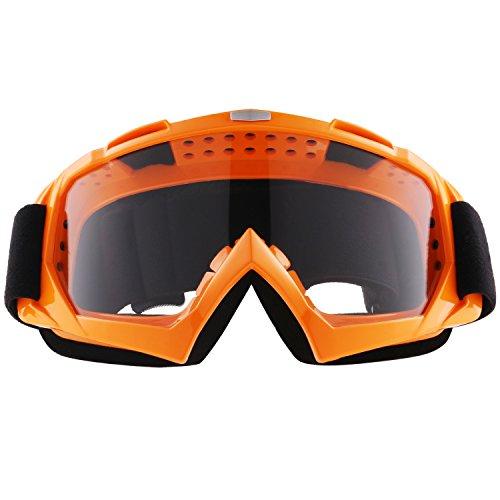 Sijueam Lunettes de Protection de Yeux Visage Masque pour sport de plein air Anti-UV coupe-vent Anti-sable Anti-poussière pour Activités Extérieures vélo Moto Cross VTT Ski Snowboard Cyclisme Goggles - Cadre Orange, lentille claire
