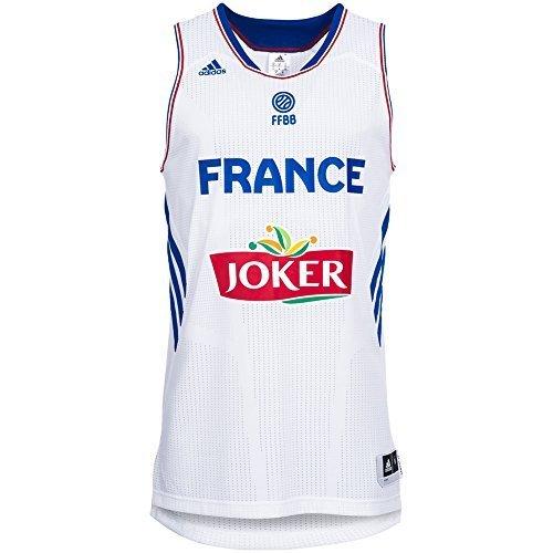 Adidas Preformance Maillot de Basket Equipe de France Homme Blanc, S